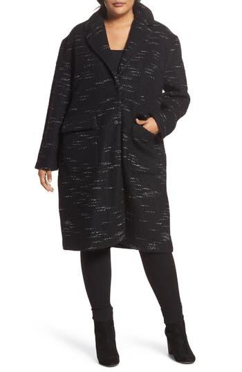 Plus Size Bernardo Wool Blend Sweater Coat, Black