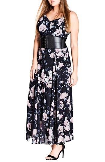 Plus Size Women's City Chic Rose Romance Maxi Dress