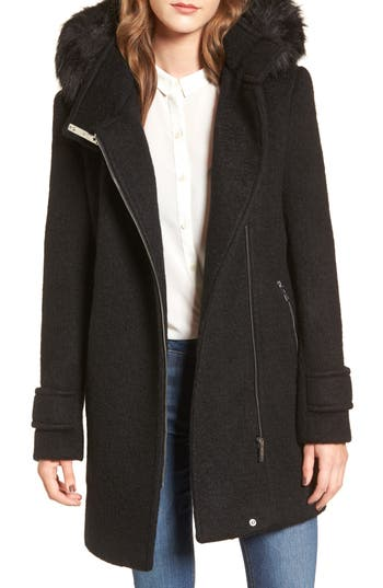 Women's Calvin Klein Hooded Wool Blend Jacket With Faux Fur Trim, Size X-Small - Black