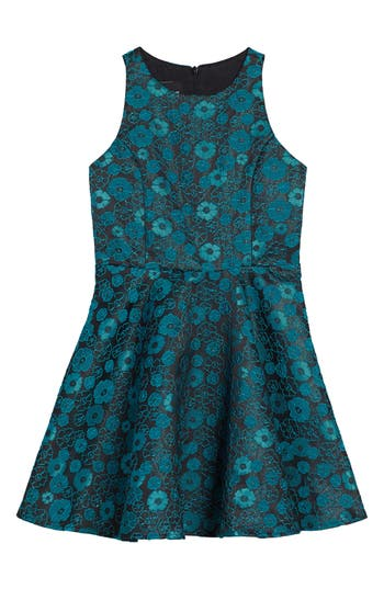 Girl's Un Deux Trois Floral Jacquard Dress, Size 8 - Black