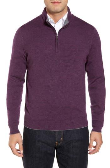 Men's Thomas Dean Merino Wool Blend Quarter Zip Sweater, Size Small - Purple