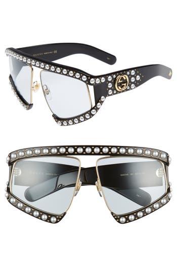 Women's Gucci 63Mm Embellished Shield Sunglasses - Black/ Light Blue