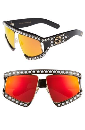 Women's Gucci 63Mm Embellished Shield Sunglasses - Black/ Orange