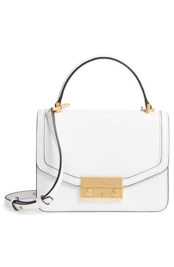 Tory Burch Mini Juliette Leather Top Handle Satchel - White