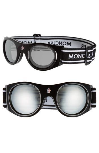 Men's Moncler Anti-Fog Goggles - Shiny Black/ Smoke/ Silver