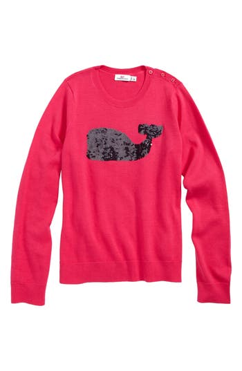 Girl's Vineyard Vines Sequin Whale Sweater, Size M (10-12) - Pink
