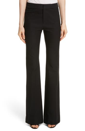 Derek Lam 10 Crosby Flare Leg Stretch Cotton Pants, Black
