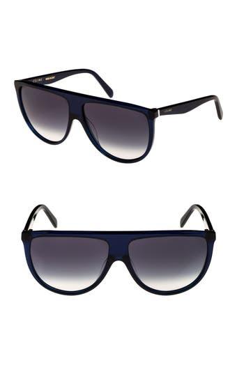 Celine 62Mm Pilot Sunglasses - Blue/ Smoke