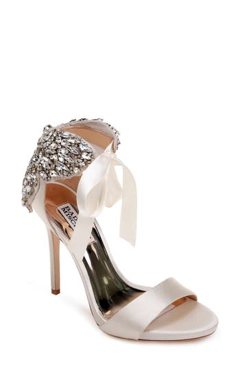 Badgley Mischka Hilda Crystal Embellished Sandal, White