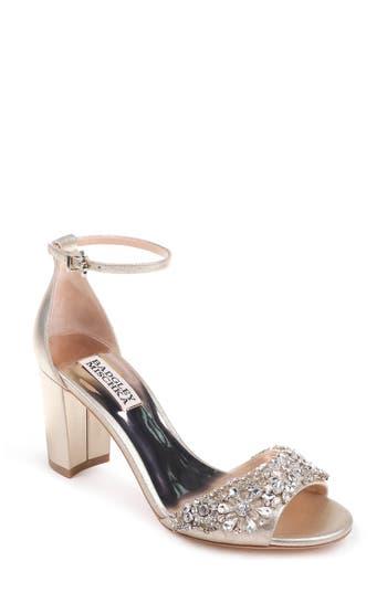 Badgley Mischka Hines Embellished Block Heel Sandal- Metallic