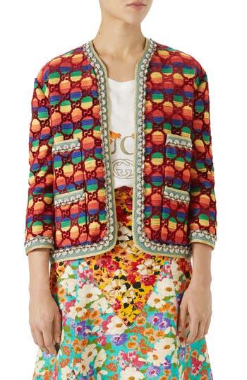 Gucci Gg Rainbow Stripe Velvet Jacket, US / 44 IT - Red