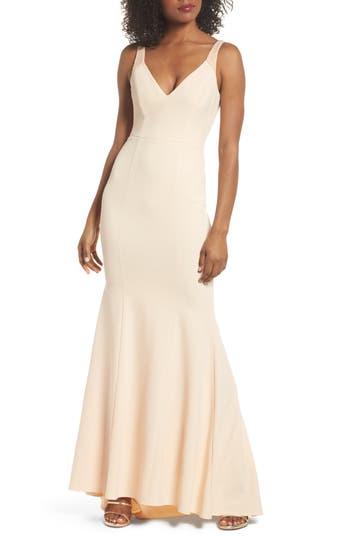 1930s Evening Dresses | Old Hollywood Dress Womens Lulus Embellished Strap Trumpet Gown Size X-Small - Pink $119.00 AT vintagedancer.com
