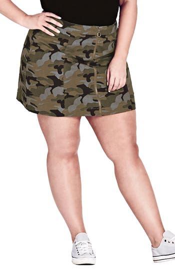 Plus Size City Chic Miss Military Camo Miniskirt, Green