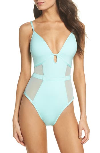 Kenneth Cole New York Push-Up One-Piece Swimsuit, Blue