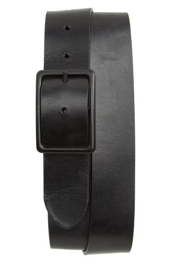 1901 Page Center Bar Leather Belt, Black