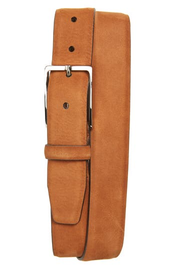 Big & Tall Nordstrom Shop Dayton Leather Belt, Cognac