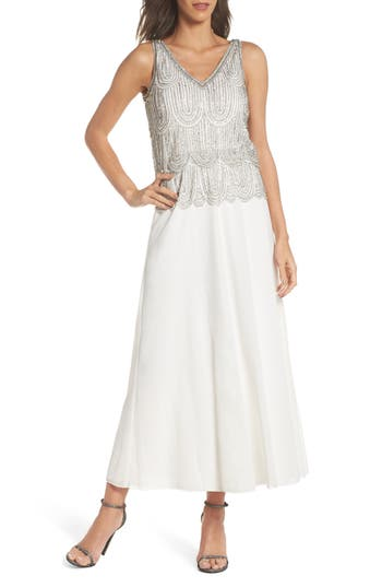 1920s Style Dresses, Flapper Dresses Petite Womens Pisarro Nights Beaded Mock Two-Piece A-Line Gown Size 16P - Ivory $218.00 AT vintagedancer.com