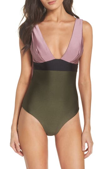 Ted Baker London Contrast One-Piece Swimsuit, Pink