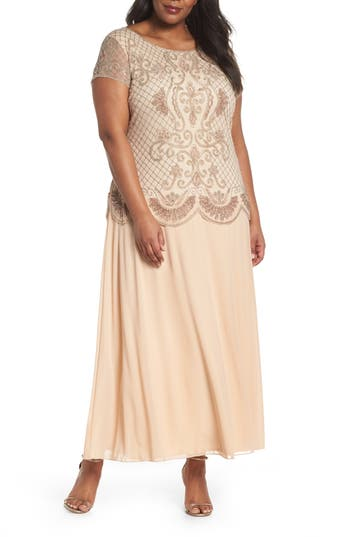 1920s Style Dresses, Flapper Dresses Plus Size Womens Pisarro Nights Embellished Mock Two-Piece Gown $136.80 AT vintagedancer.com