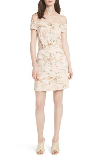 La Vie Rebecca Taylor Floral Off The Shoulder Denim Dress, Ivory