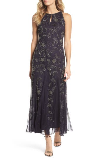 Pisarro Nights Beaded Godet Gown, Purple