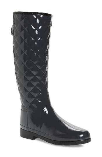 Hunter Original Refined High Gloss Quilted Rain Boot, Grey