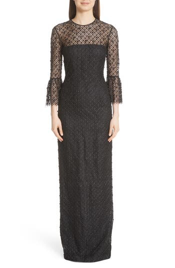 Carmen Marc Valvo Couture Bell Sleeve Lace & Crystal Gown, Black