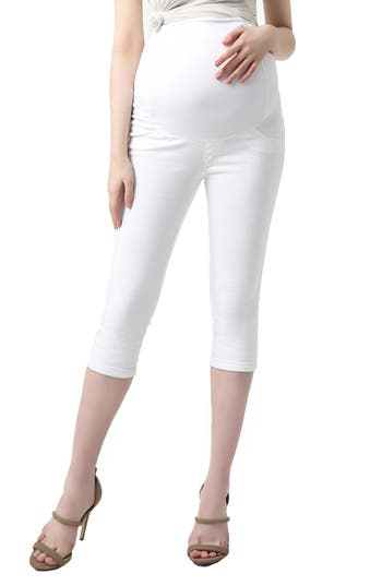 Kimi And Kai Melody Capri Denim Maternity Leggings, White