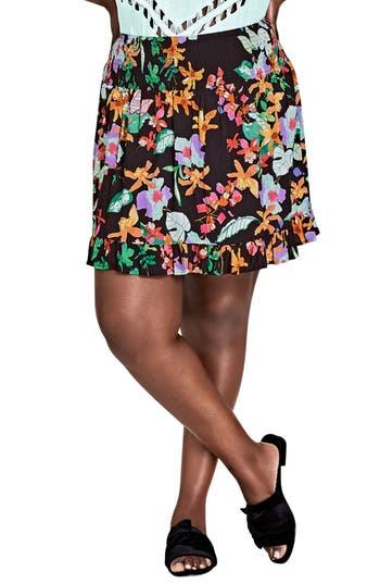 Plus Size City Chic Molokai Floral Skirt, Black