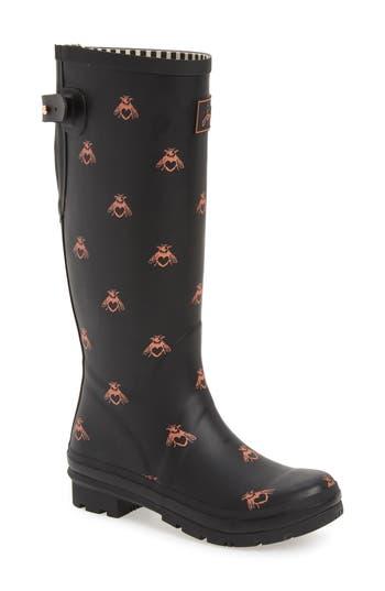 Joules Print Rain Boot, Black