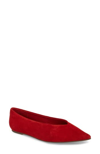 Topshop Attitude Pointy Toe Flat - Red
