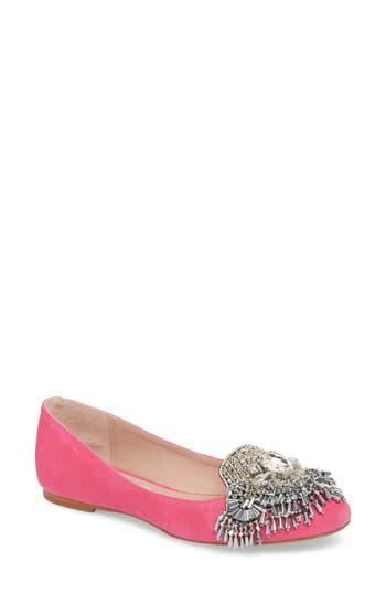 James Chan Fiona Embellished Flat, Pink