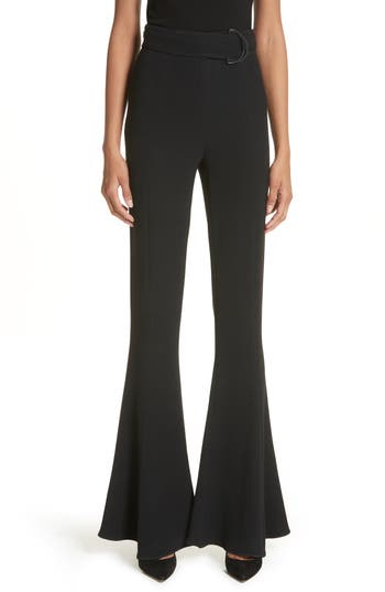 Cushnie Et Ochs Carina D-Ring High Waist Flare Pants, Black