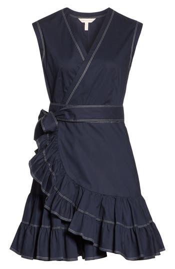 Rebecca Taylor Sleeveless Cotton Poplin Wrap Dress, Blue
