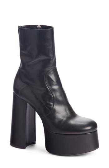 Saint Laurent Billy Kangaroo Leather Platform Boot, Black