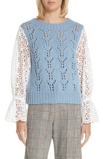 Sea Eyelet Sleeve Wool Blend Sweater, Blue