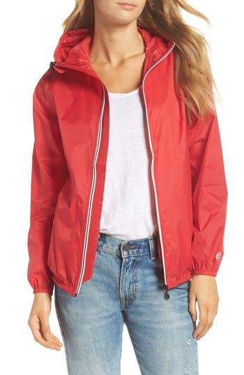 O8 Lifestyle Packable Rain Jacket, Red