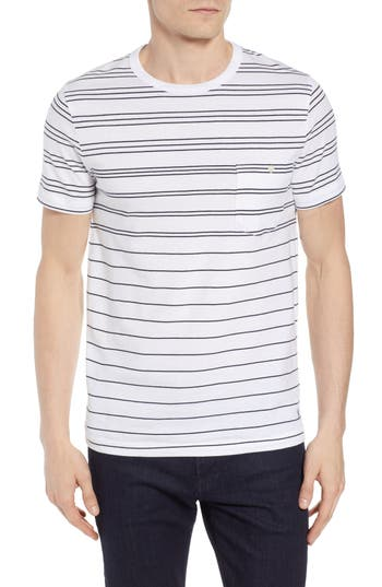 French Connection Summer Graded Stripe Pocket T-Shirt, White