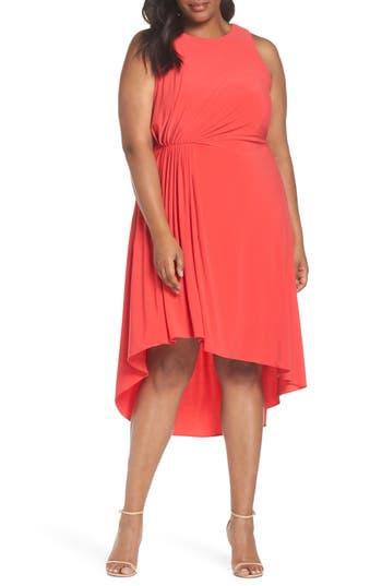 Plus Size Adrianna Papell Asymmetrical Matte Jersey Dress, Red