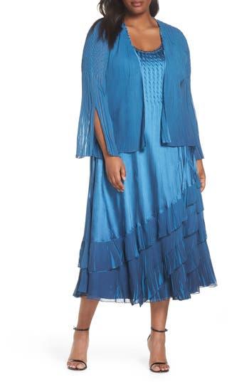 Plus Size Komarov Charmeuse & Chiffon Dress With Jacket