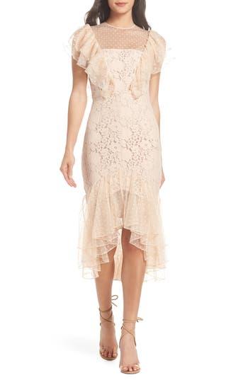 Cooper St Rosie Ruffle Lace Midi Dress, Beige