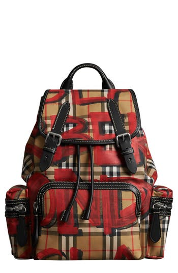 Burberry Medium Graffiti Print Vintage Check Canvas Rucksack - Black