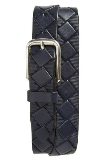 Johnston & Murphy Basketweave Leather Belt, Navy