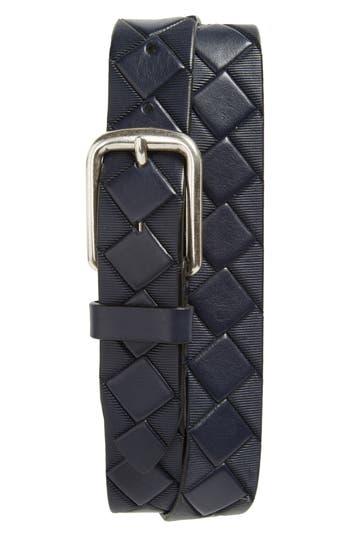 Johnston & Murphy Basketweave Leather Belt, Navy