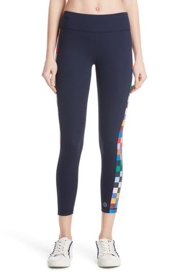 Tory Sport Checker 7/8 Leggings, Blue