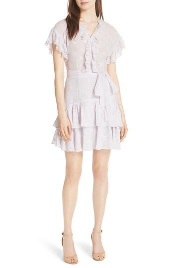 Rebecca Taylor Dree Embroidered Ruffle Dress, Purple