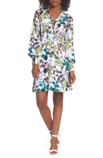 Eliza J Floral Tie Neck Dress, Ivory