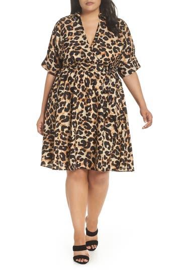 Rockabilly Dresses | Rockabilly Clothing | Viva Las Vegas Plus Size Womens Eliza J Leopard Print Shirtdress $158.00 AT vintagedancer.com