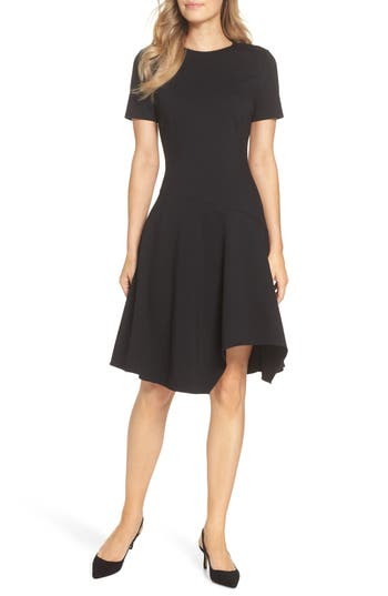 Eliza J Drop Waist Fit & Flare Dress, Black