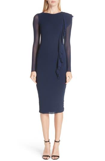 Fuzzi Asymmetrical Ruffle Long Sleeve Dress, Blue